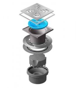 13000076 Трап водосток Pestan Confluo Standard Vertical Square Mask 150*150 мм нержавеющая сталь с рамкой