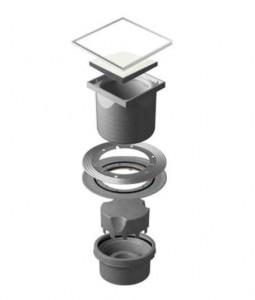 13000098 Трап водосток Pestan Confluo Standard Vertical White Glass 150*150 белое стекло нержавеющая сталь с рамкой