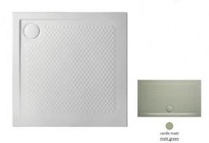 PDQ008 26; 00 Поддон ArtCeram Texture 90 х 90 х 5,5 см,, квадратный, цвет - verde matt (светло-зеленый), из искусственного камня
