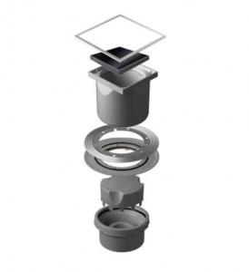 13000097 Трап водосток Pestan Confluo Standard Vertical Black Glass 150*150 черное стекло нержавеющая сталь с рамкой