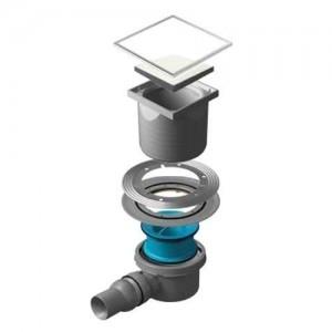 13000093 Трап водосток Pestan Confluo Standard White Glass 1 150*150 White Glass белое стекло с рамкой сталь