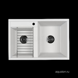 Мойка для кухни из литого мрамора Aquaton Делия 78 DBL 2 чаши жемчуг 1A723132DE240