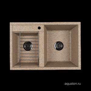 Мойка для кухни Aquaton Делия 78 DBL 2 чаши песочный 1A723132DE220