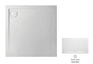 PDQ008 05; 00 Поддон ArtCeram Texture 90 х 90 х 5,5 см,, квадратный, цвет - белый матовый, из искусственного камня