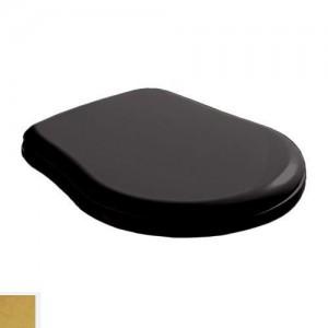 109104 Крышка-сиденье Kerasan Retro standart, черное глянцевое, петли золото