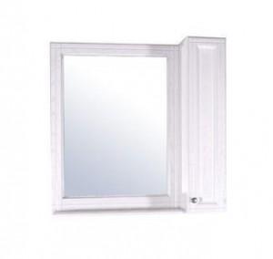 Зеркало ASB-Woodline Берта 85 со шкафчиком, массив ясеня, белое патина серебро