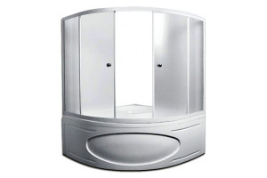 1MarKa-shtorkafront-white-155 Шторка на ванну 1MarKa Luxe профиль белый, стекло рифленое
