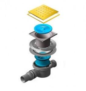 13000149 Трап водосток Pestan Confluo Standard Drops 2 Gold 150*150 мм нержавеющая сталь