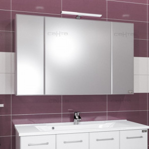 Зеркальный шкаф СаНта Стандарт 120 113020, цвет белый, с подсветкой