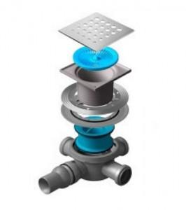 13000011 Трап водосток Pestan Confluo Standard Drops 3 150*150 мм нержавеющая сталь без рамки