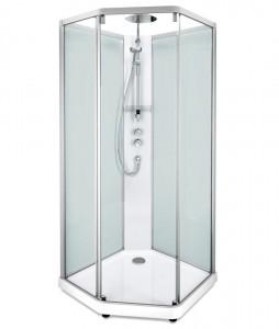 558.206.312 Душевая кабина IDO Showerama 10-5 Comfort, 80 x 90 см, стекло прозрачное, задние стенки матовые, профиль алюминий