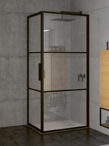 GB2080100 Душевой уголок Riho Grid GB201,, 100 х 80 см, стекло прозрачное, профиль черный