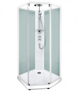 558.203.307 Душевая кабина IDO Showerama 10-5 Comfort, 90 x 80 см, стекло прозрачное, задние стенки матовые, профиль белый