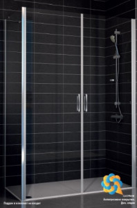 E2P-Fis 90*90 05 02 Душевой уголок Vegas Glass E2P-Fis бронзовый профиль, стекло шиншилла, 90 x 90 см
