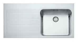 101.0150.349 Мойка Franke EPOS EOV 611,, установка сверху, нержавеющая сталь/стекло, белая, левая, 100*51 см