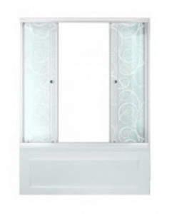 Щ0000025979 Шторка на ванну Triton Стандарт Узоры 150 x 147.5 см, стекло с узором
