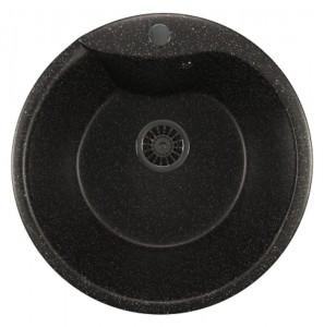 ML-GM12 (308) Кухонная мойка Mixline, врезная сверху, цвет - черный, 48.5 х 48.5 х 21 см