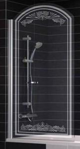 EV arc Lux 0075 09 B2 Шторка на ванну Vegas Glass, профиль - золото, стекло - прозрачное, рисунок - матовый, 75 х 155 см