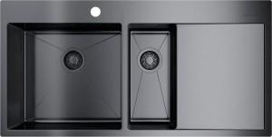 4973103 Мойка кухонная Omoikiri Akisame 100-2-GM-L вороненая сталь