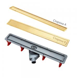 13100053 Душевой лоток Pestan Confluo Premium Gold Line 650, решетка нержавеющая сталь с золотым покрытием 24К