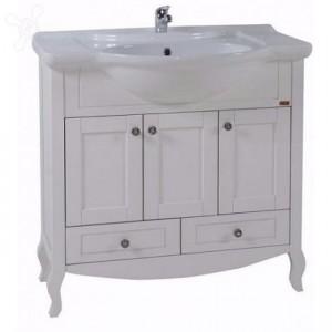 9009/17408 Тумба с раковиной АСБ-Мебель Флоренция 85 белая патина серебро, массив ясеня