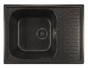 ML-GM18 (308) Кухонная мойка Mixline, врезная сверху, цвет - черный, 64.5 х 49 х 19 см