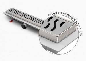 ALP-1050/50HN1 Душевой водоотводящий желоб с рамкой Alpen Harmony 1050 мм хром матовый