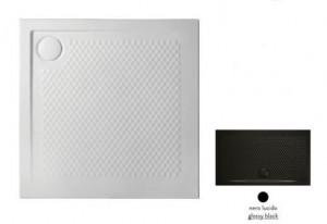 PDQ008 03; 00 Поддон ArtCeram Texture 90 х 90 х 5,5 см,, квадратный, цвет - черный глянцевый, из искусственного камня