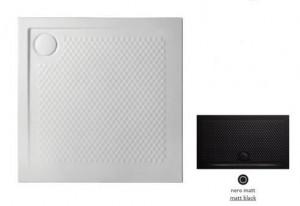 PDQ008 17; 00 Поддон ArtCeram Texture 90 х 90 х 5,5 см,, квадратный, цвет - черный матовый, из искусственного камня