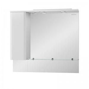 Зеркальный шкаф Edelform Amata 100, с подсветкой и розеткой, белый глянец