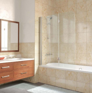 E2V Lux ST 0120 07 R06 Шторка на ванну на профиле Vegas Glass, профиль - матовый хром, стекло – жасмин, 120*149,5 см