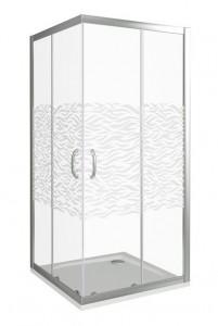 ИН00060 Душевое ограждение Good Door Infinity CR-100-W-CH 100 х 100 х 185 см,, стекло прозрачное с рисунком Волна, хром