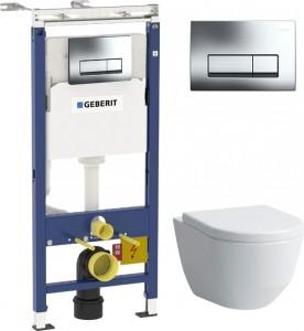 Комплект  Система инсталляции для унитазов Geberit Duofix Платтенбау 458.125.21.1 4 в 1 с кнопкой смыва + Крышка-сиденье Laufen Pro 8.9695.1.300.000.1